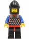 Minifig No: cas147  Name: Scale Mail - Red with Blue Arms, Black Legs with Red Hips, Black Chin-Guard