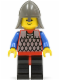 Minifig No: cas150  Name: Scale Mail - Red with Blue Arms, Black Legs with Red Hips, Dark Gray Neck-Protector