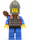 Minifig No: cas151a  Name: Scale Mail - Red with Blue Arms, Blue Legs with Black Hips, Dark Gray Chin-Guard, Quiver