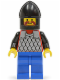 Minifig No: cas152  Name: Scale Mail - Red with Black Arms, Blue Legs, Black Chin-Guard