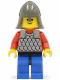 Minifig No: cas155  Name: Scale Mail - Red with Red Arms, Blue Legs with Black Hips, Dark Gray Neck-Protector