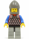 Minifig No: cas158  Name: Scale Mail - Red with Blue Arms, Light Gray Legs with Black Hips, Dark Gray Chin-Guard