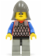Minifig No: cas160  Name: Scale Mail - Red with Blue Arms, Light Gray Legs with Black Hips, Dark Gray Neck-Protector