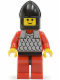 Minifig No: cas161  Name: Scale Mail - Red with Red Arms, Red Legs with Black Hips, Black Chin-Guard