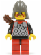 Minifig No: cas163a  Name: Scale Mail - Red with Black Arms, Red Legs with Black Hips, Dark Gray Neck-Protector, Quiver