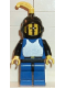 Minifig No: cas182  Name: Breastplate - Blue with Black Arms, Blue Legs with Black Hips, Black Grille Helmet, Yellow Feather, Black Plastic Cape