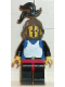 Minifig No: cas183  Name: Breastplate - Blue with Black Arms, Black Legs with Red Hips, Dark Gray Grille Helmet, Black Plume, Black Plastic Cape
