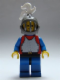 Minifig No: cas190  Name: Breastplate - Red with Blue Arms, Blue Legs with Black Hips, Dark Gray Grille Helmet, White Plume, Blue Plastic Cape