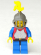 Minifig No: cas191  Name: Breastplate - Red with Blue Arms, Blue Legs with Black Hips, Dark Gray Grille Helmet, Yellow Plume