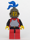Minifig No: cas192  Name: Breastplate - Red with Black Arms, Red Legs with Black Hips, Dark Gray Grille Helmet, Blue Plume, Blue Plastic Cape