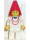 Minifig No: cas216  Name: Maiden with Necklace - White Legs, Red Cone Hat