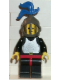 Minifig No: cas217  Name: Breastplate - Black, Black Legs and Red Hips, Dark Gray Grille Helmet, Blue Plume, Black Plastic Cape