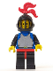 Minifig No: cas218  Name: Breastplate - Blue with Black Arms, Black Legs with Red Hips, Black Arms, Black Grille Helmet, Red Plume, Blue Plastic Cape