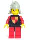 Minifig No: cas229  Name: Classic - Knights Tournament Knight Black, Red Legs with Black Hips, Light Gray Neck-Protector