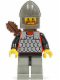 Minifig No: cas235  Name: Scale Mail - Red with Black Arms, Light Gray Legs with Black Hips, Dark Gray Chin-Guard, Quiver