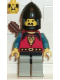 Minifig No: cas245  Name: Dragon Knights - Knight 1, Light Gray Legs with Black Hips, Black Chin-Guard, Quiver