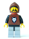 Minifig No: cas252  Name: Wolf People - Wolfpack 1 with Black Arms, Brown Hood, Red Plastic Cape