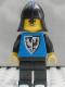 Minifig No: cas253  Name: Black Falcon - Black Legs, Black Neck-Protector (new style torso with pointier bottomed shield)