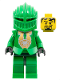 Minifig No: cas266  Name: Knights Kingdom II - Rascus with Gold Pattern Armor, Plain Torso, Dark Green Hips and Helmet