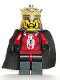 Minifig No: cas277  Name: Knights Kingdom II - King with Crown & Black Cape (Chess King)