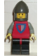 Minifig No: cas281  Name: Classic - Knight, Shield Red/Gray, Black Legs with Red Hips, Dark Gray Chin-Guard