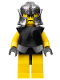 Minifig No: cas311  Name: Knights Kingdom II - Rogue Knight 4 (Yellow Legs, Black Breastplate, Speckle Cheek Protector Helmet)