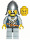 Minifig No: cas341  Name: Fantasy Era - Crown Knight Scale Mail with Crown, Helmet with Neck Protector, Dual Sided Head