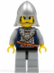 Minifig No: cas360  Name: Fantasy Era - Crown Knight Scale Mail with Crown, Helmet with Neck Protector, Black Messy Hair and Stubble
