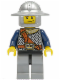 Minifig No: cas406  Name: Fantasy Era - Crown Knight Scale Mail with Chest Strap, Helmet with Broad Brim, Crooked Smile