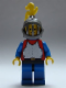 Minifig No: cas414  Name: Breastplate - Red with Blue Arms, Blue Legs with Black Hips, Dark Gray Grille Helmet, Yellow Plume, Blue Plastic Cape