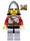 Minifig No: cas438  Name: Kingdoms - Lion Knight Scale Mail with Chest Strap and Belt, Helmet with Neck Protector, Open Mouth (Dual Sided Head)