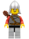 Minifig No: cas448  Name: Kingdoms - Lion Knight Scale Mail with Chest Strap and Belt, Helmet with Neck Protector, Quiver, Open Grin