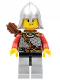 Minifig No: cas472  Name: Kingdoms - Lion Knight Scale Mail with Chest Strap and Belt, Helmet with Neck Protector, Quiver, Smirk