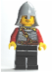 Minifig No: cas475  Name: Kingdoms - Lion Knight Scale Mail with Chest Strap and Belt, Helmet with Neck Protector, Stubble Smile (Dual Sided Head)