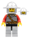Minifig No: cas496  Name: Kingdoms - Lion Knight Scale Mail with Chest Strap and Belt, Helmet with Broad Brim, Eyebrows and Goatee