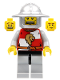 Minifig No: cas498  Name: Kingdoms - Lion Knight Quarters, Helmet with Broad Brim, Vertical Cheek Lines, Mouth Closed / Mouth Open Scared Pattern