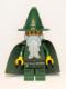 Minifig No: cas509  Name: Kingdoms - Dark Green Wizard, Light Bluish Gray Beard, Cape (Chess King)