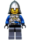 Minifig No: cas516  Name: Castle - King's Knight Breastplate with Crown and Chain Belt, Helmet with Neck Protector, Closed Grin with Stubble