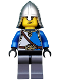 Minifig No: cas521  Name: Castle - King's Knight Blue and White with Chest Strap and Crown Belt, Helmet with Neck Protector, Angry Eyebrows and Scowl
