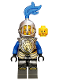 Minifig No: cas523  Name: Castle - King's Knight Armor with Lion Head with Crown, Helmet with Fixed Grille, Blue Plume