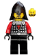 Minifig No: cas525  Name: Castle - Dragon Knight Scale Mail with Dragon Shield and Shoulder Armor, Helmet with Neck Protector, Black Beard