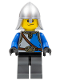Minifig No: cas530  Name: Castle - King's Knight Blue and White with Chest Strap and Crown Belt, Helmet with Neck Protector, Scared Face