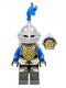 Minifig No: cas532  Name: Castle - King's Knight Armor with Lion Head with Crown, Helmet with Pointed Visor, Blue Plume, Angry Face