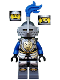 Minifig No: cas535  Name: Castle - King's Knight Armor with Lion Head with Crown, Helmet with Pointed Visor, Blue Plume, Determined / Open Mouth Scared Pattern