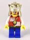 Minifig No: cas552  Name: Royal Knights - King, Chrome Gold Crown, Lion Crest, Black Hips, Blue Legs