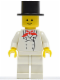 Minifig No: chef003  Name: Chef - White Legs, Standard Grin, Black Top Hat