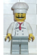 Minifig No: chef010  Name: Chef - White Torso with 8 Buttons, Light Gray Legs, Long Curly Moustache