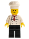 Minifig No: chef014  Name: Chef - White Torso with 8 Buttons, Black Legs, Standard Grin