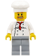 Minifig No: chef016  Name: Chef - White Torso with 8 Buttons, Light Bluish Gray Legs