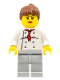Minifig No: chef019a  Name: Chef - White Torso with 8 Buttons, Light Bluish Gray Legs, Reddish Brown Ponytail Hair, Black Eyebrows